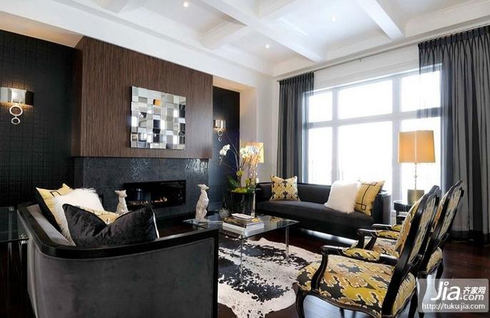 三居室现代暗色调装修效果图大全2012图片装修图片