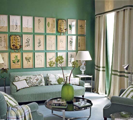 美式风格绿色沙发背景墙效果图