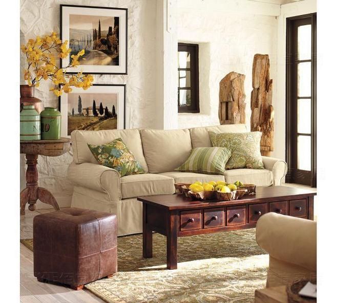美式风格黄色沙发背景墙效果图