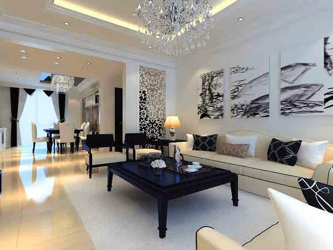 美式风格黑白沙发背景墙装修效果图