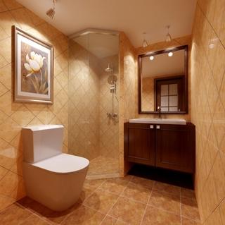 美式风格红色卫生间改造