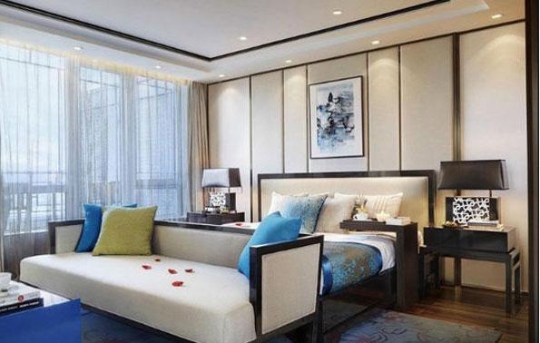 中式风格小清新卧室背景墙设计图片