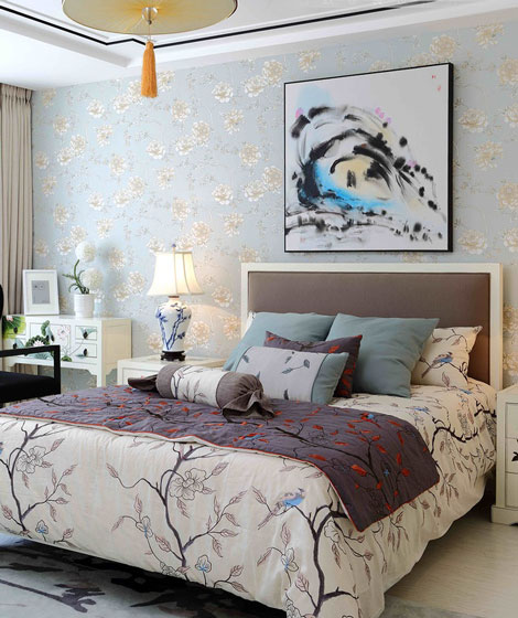 中式风格小清新卧室背景墙设计图图片