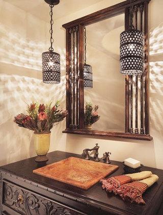 欧式田园风格卫生间浴室柜效果图