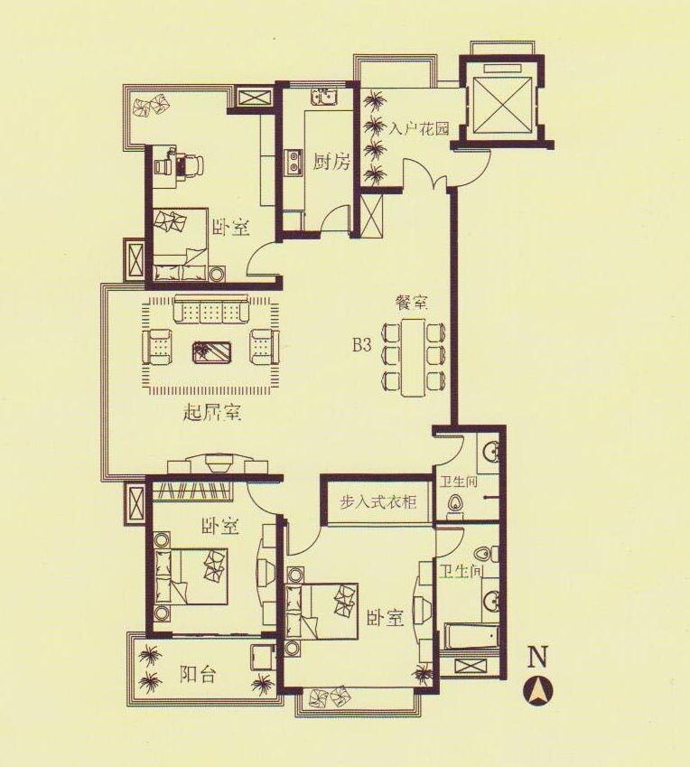 中式风格三居室大气户型图