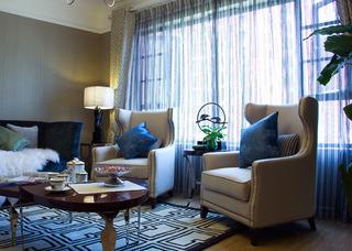 美式风格二居室时尚冷色调单人沙发图片