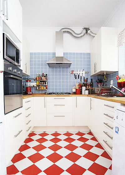 北欧风格简洁厨房瓷砖效果图