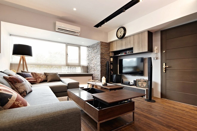 港式新中式客厅电视背景墙设计_装修百科图片