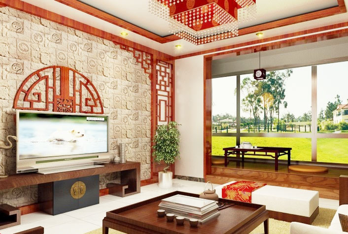 中式风格大气电视背景墙设计图