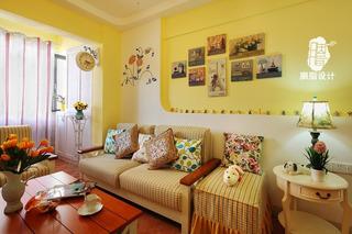 地中海风格小清新90平米沙发背景墙二手房家装图片