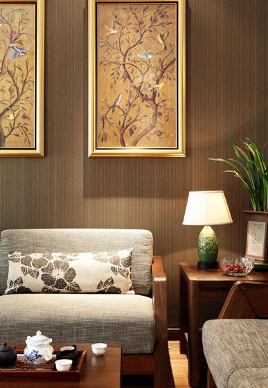 中式风格别墅奢华沙发背景墙装修效果图