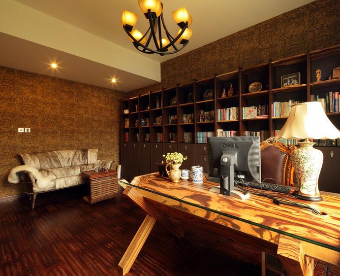 美式风格别墅奢华书房设计图