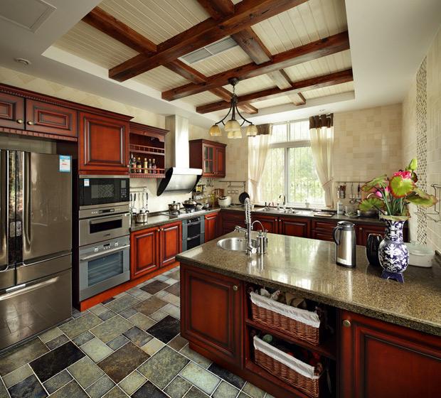 美式风格别墅奢华厨房装修图片
