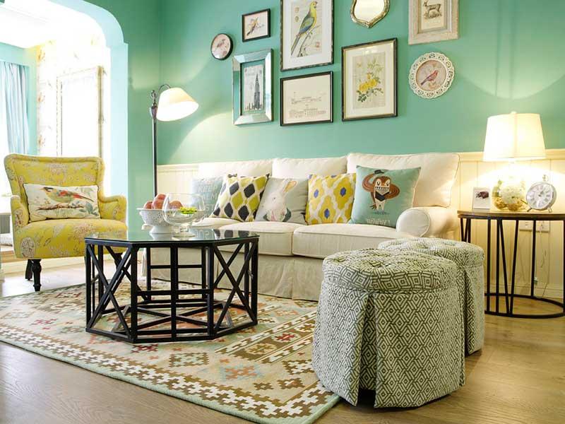 甜美铬绿色美式田园风 三居美宅设计