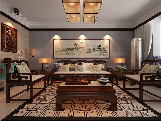 中式风格古典灰色效果图