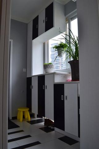 简约风格三居室黑白90平米鞋柜效果图