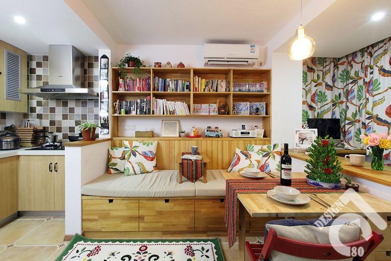 田园风格一居室3万-5万40平米装修图片