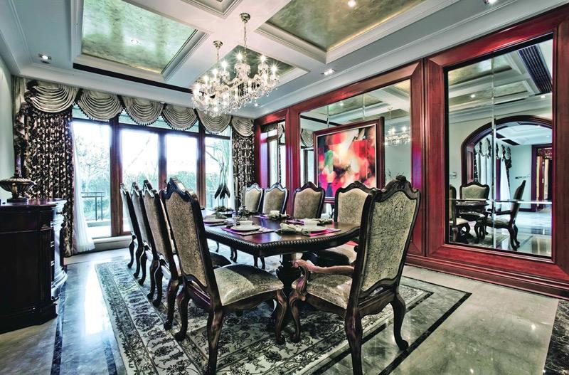 美式风格别墅奢华餐厅设计图