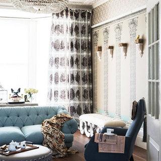 时尚米色客厅壁纸效果图