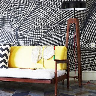 时尚黑白客厅壁纸效果图