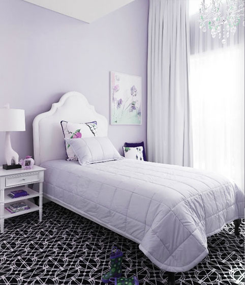紫色卧室窗帘图片