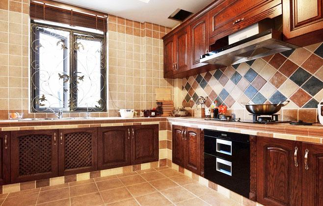 田园风格简洁厨房瓷砖图片