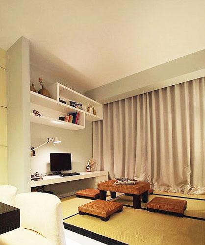 米色卧室窗帘飘窗窗帘效果图高清图片