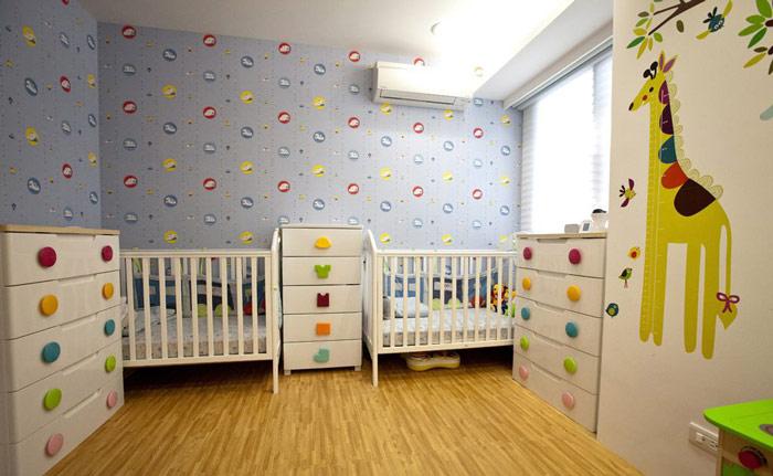 简约风格时尚儿童房手绘墙效果图