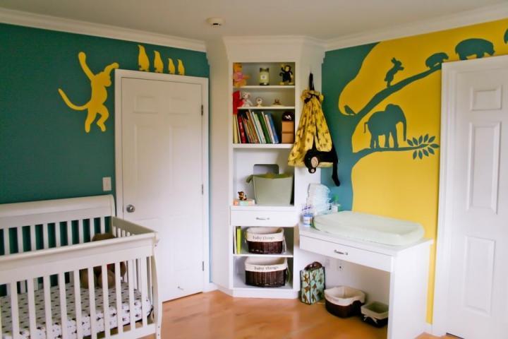 简约风格时尚儿童房手绘墙设计图纸