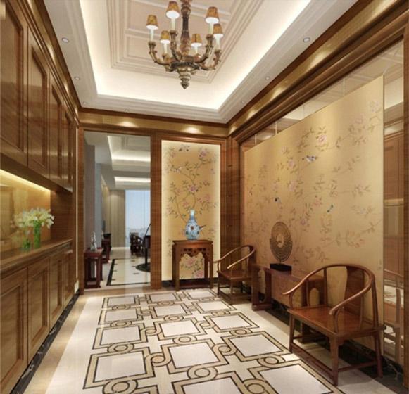 中式风格大气玄关走廊装修效果图