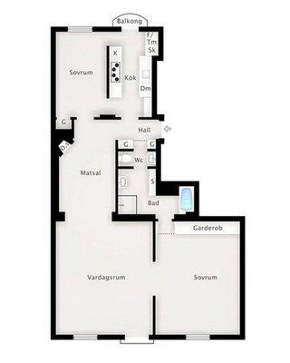 宜家风格二居室10-15万90平米户型图