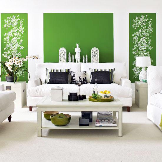 小清新绿色客厅壁纸效果图