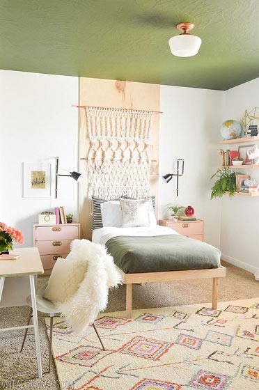 宜家风格小清新卧室背景墙设计图
