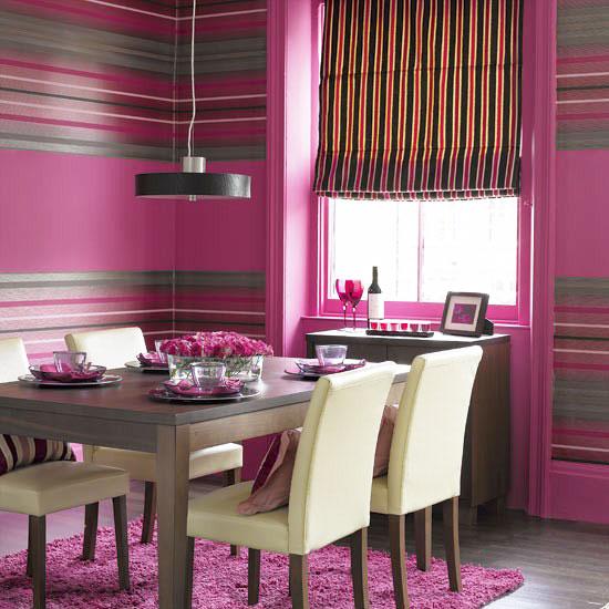 简欧风格紫色餐厅壁纸效果图