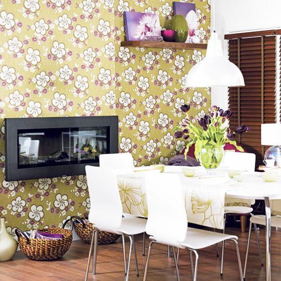 简欧风格黄色餐厅壁纸效果图