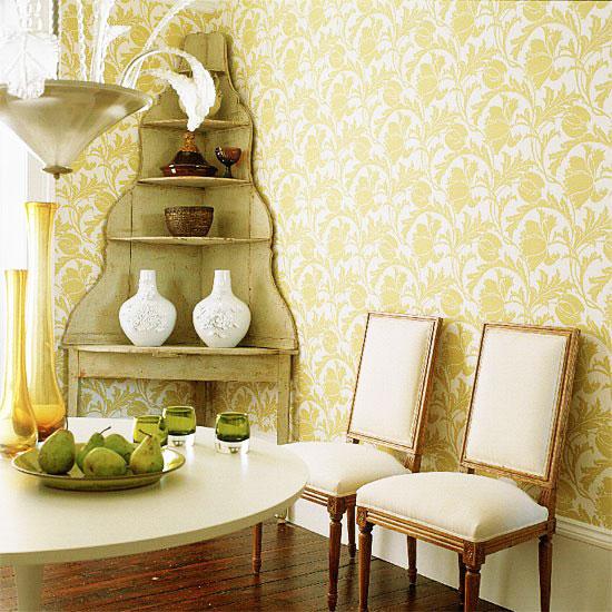 简欧风格黄色餐厅壁纸图片