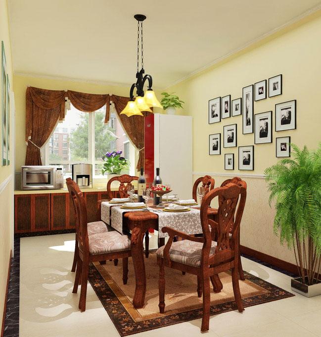美式风格黄色餐厅背景墙效果图