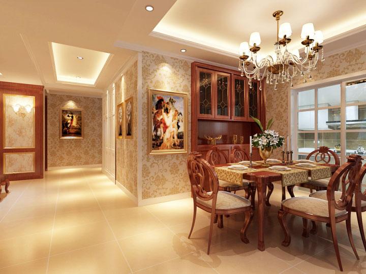 美式风格装修效果图大全 美式风格黄色餐厅背景墙效果图图片