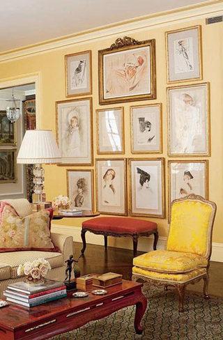 欧式风格温馨黄色客厅装修效果图