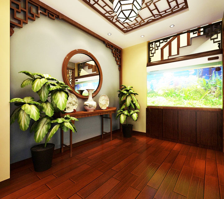 中式风格绿色过道装修效果图
