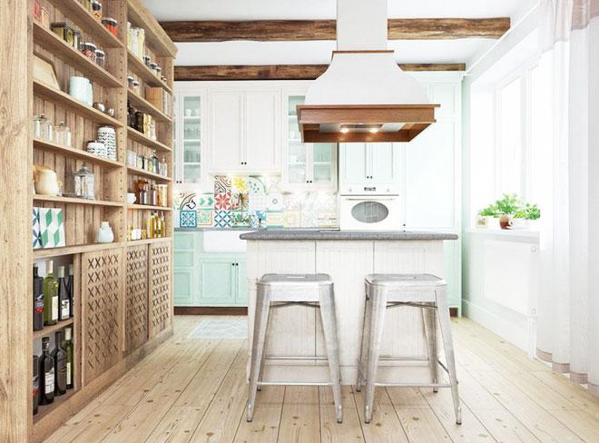 厨房裸色地板图片