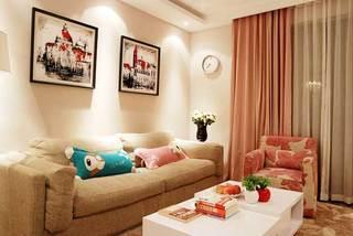 粉色温馨客厅设计效果图