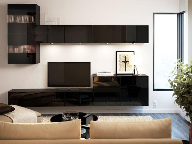黑色宜家风格电视柜效果图