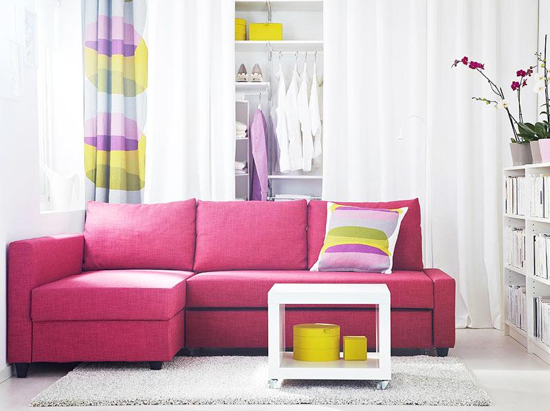 桃红色宜家沙发图片