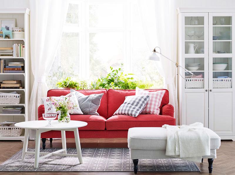 红色宜家沙发图片