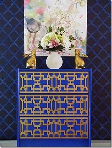 蓝色中式玄关柜图片
