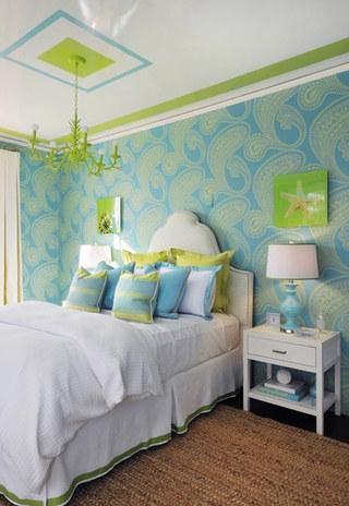 清新蓝绿色卧室效果图