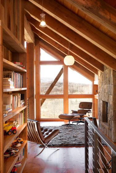 阁楼实木书房效果图