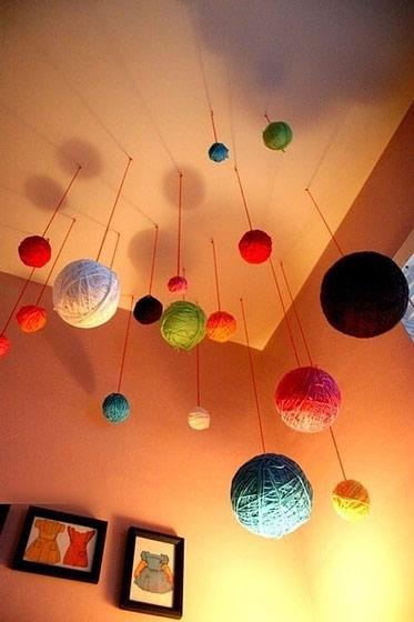 球布置效果�_彩色毛线球装饰吊顶效果图