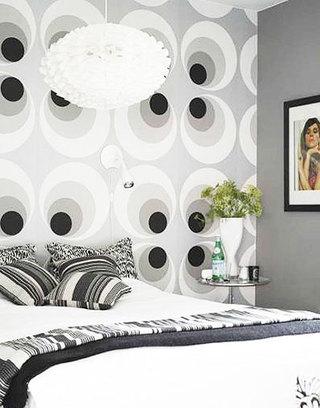 冷色调卧室壁纸装修效果图